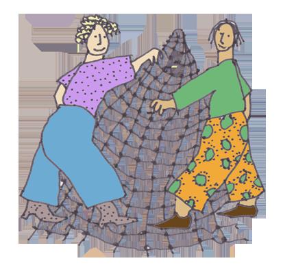 Zwei Frauen mit einem Netz